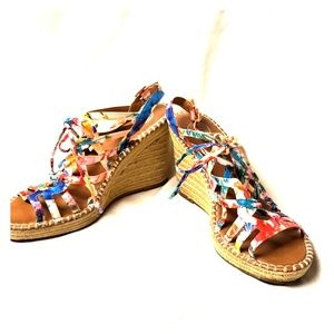 Colorful strappy wedge sandal
